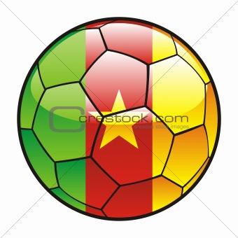 flag of Cameroon on soccer ball