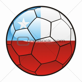 flag of Chile on soccer ball