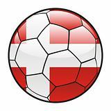 flag of Denmark on soccer ball