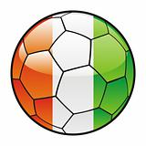 flag of Ivory Coast on soccer ball