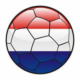 flag of Netherlands on soccer ball