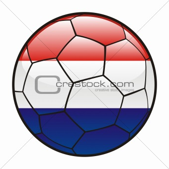 flag of Netherlands on soccer ball