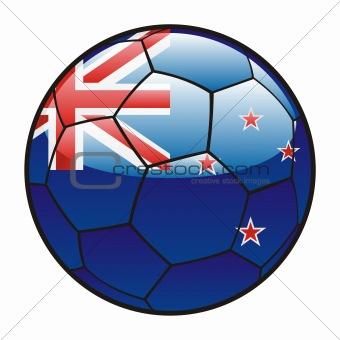 flag of New Zealand on soccer ball
