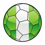 flag of Nigeria on soccer ball