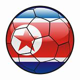 flag of North Korea on soccer ball