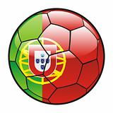flag of Portugal on soccer ball