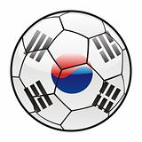 flag of South Korea on soccer ball