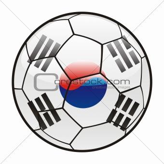 flag of South Korea on soccer ball
