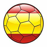 flag of Spain on soccer ball