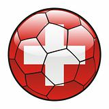 flag of Switzerland on soccer ball