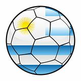 flag of Uruguay on soccer ball