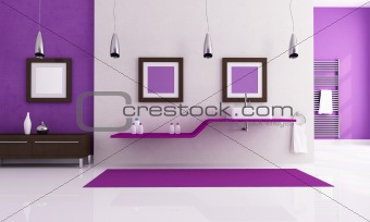 white and purple contemporary bathroom