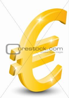 3D gold euro sign