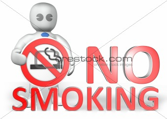 a man with a no smoking warning