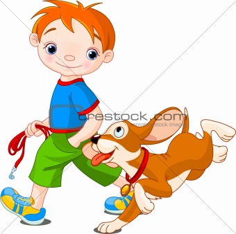 Boy walking a dog