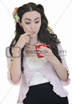 beautiful young woman with red coup of coffee isolated on white