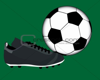 Football boot and ball