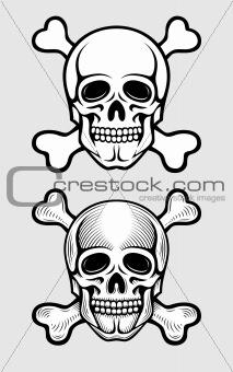 skull with skeleton bones piratic symbol