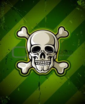 skull with skeleton bones on grunge military background