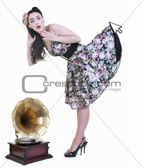 mouse cursor hold dress of young woman