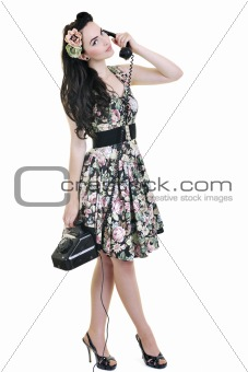 beautiful young woman isolated on white