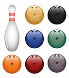 Isolated image of a bowling pin and a balls.