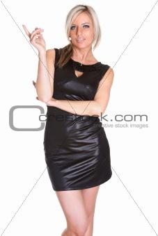 Beautiful sexy girl in black dress