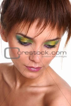 Beautiful portrait of pretty young woman with fashion eye make-up
