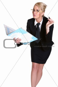 Portrait of young businesswoman with glasses