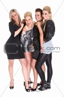 Four Attractive Girls Celebrating