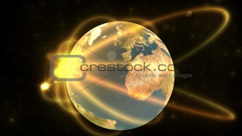 Animation showing a terrestrial globe