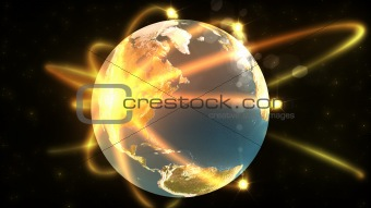 Animation showing a 3d terrestrial globe