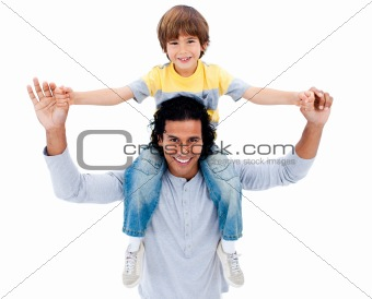 Adorable little boy having fun with his father