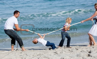 Animated family playing tug of war