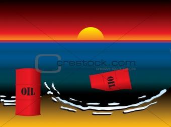 oil slick barrel sun set