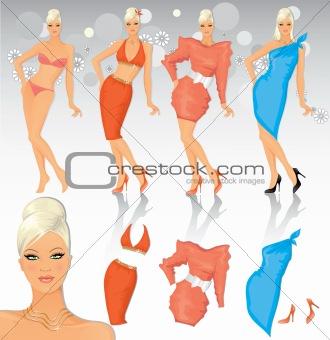 Fashion model with costume set