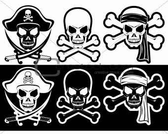 ... : Jolly Roger, Pirate attributes, Skull and Crossbones silhouette