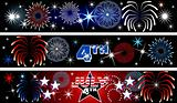 July 4th Firework Banners