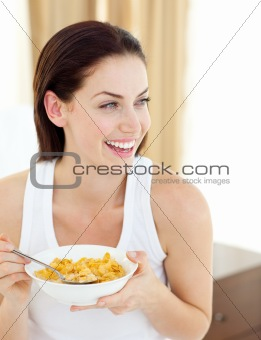 Positive woman having breakfast