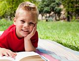 Cute little boy reading at a picnic