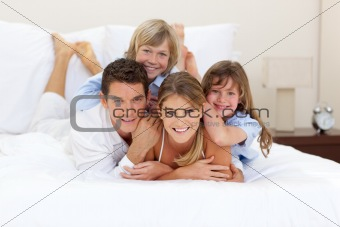 Cheerful family having fun together