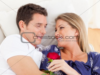 Portrait of lovers relaxing on sofa