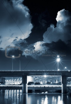 City night scene of bridge