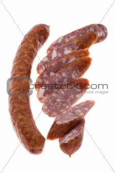 Cutting Sausage on white