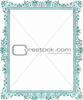 Antique green flora; decorative border