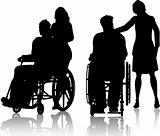 Man in wheelchair with woman