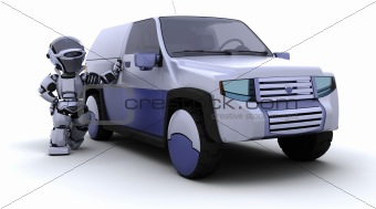 robot with SUV concept car