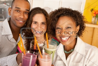 Friends Socializing Over Smoothies