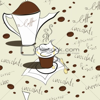 Vector seamless pattern with coffee beans 