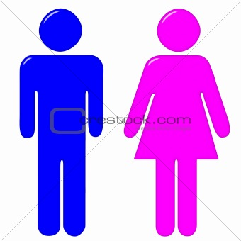 3D Male and Female Silhouettes